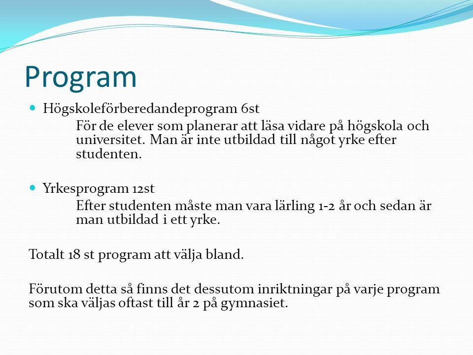 Program Högskoleförberedandeprogram 6st