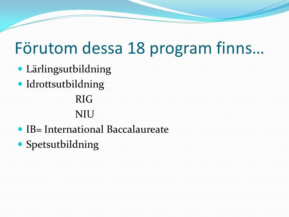 Förutom dessa 18 program finns…