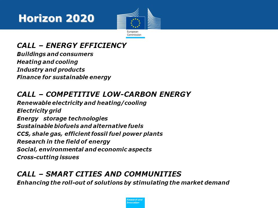 Horizon 2020 CALL – ENERGY EFFICIENCY