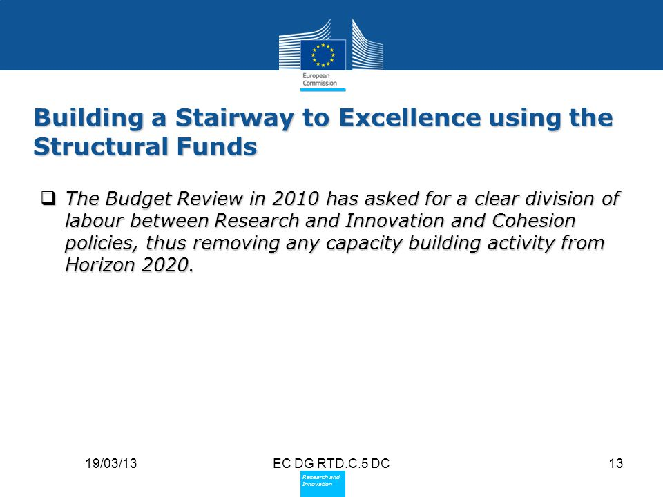 Building a Stairway to Excellence using the Structural Funds