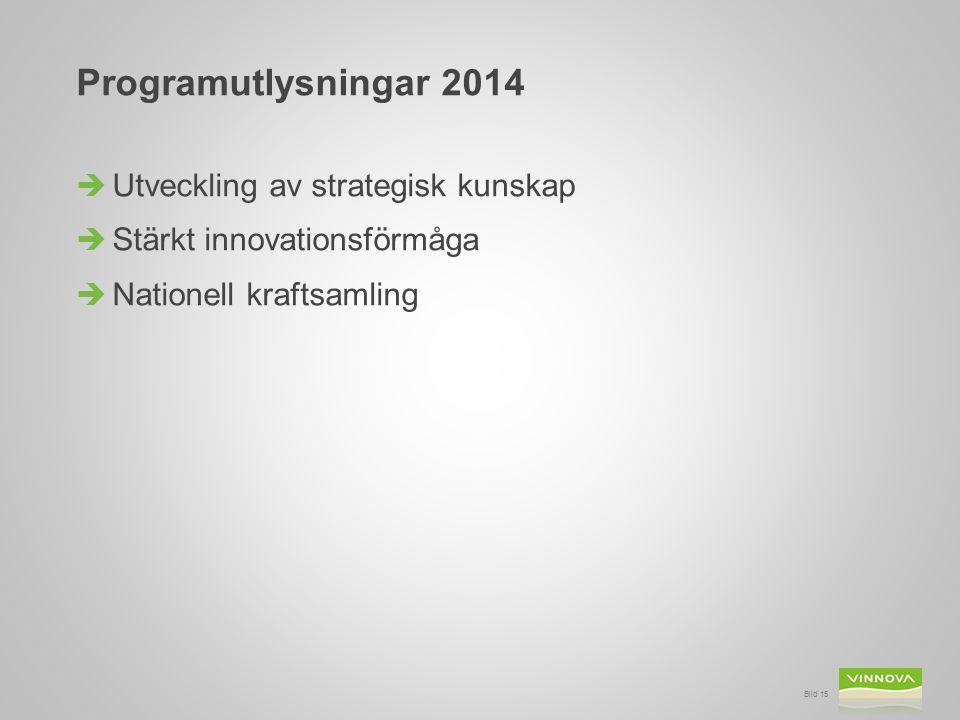 Programutlysningar 2014 Utveckling av strategisk kunskap