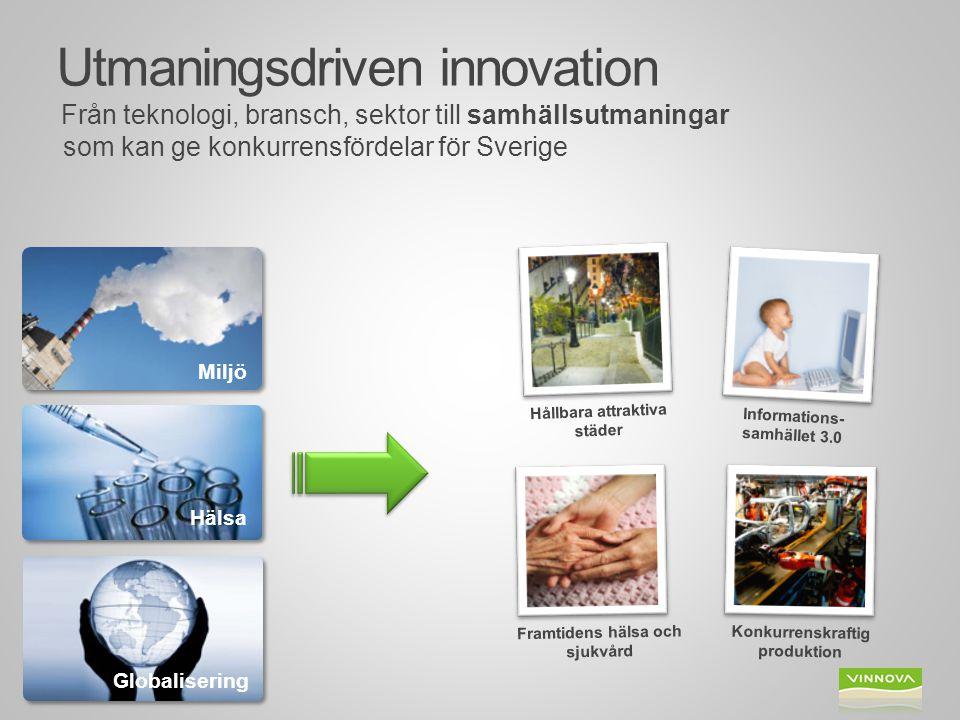 Utmaningsdriven innovation Från teknologi, bransch, sektor till samhällsutmaningar som kan ge konkurrensfördelar för Sverige