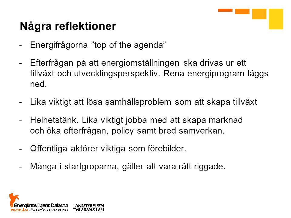 Några reflektioner Energifrågorna top of the agenda