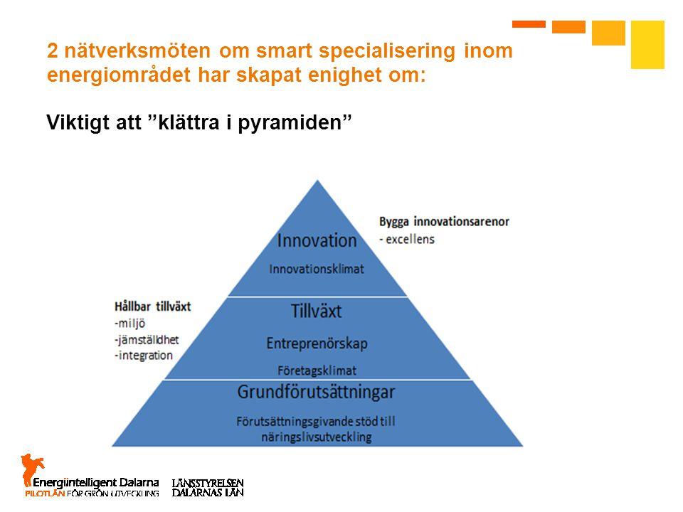 2 nätverksmöten om smart specialisering inom energiområdet har skapat enighet om: