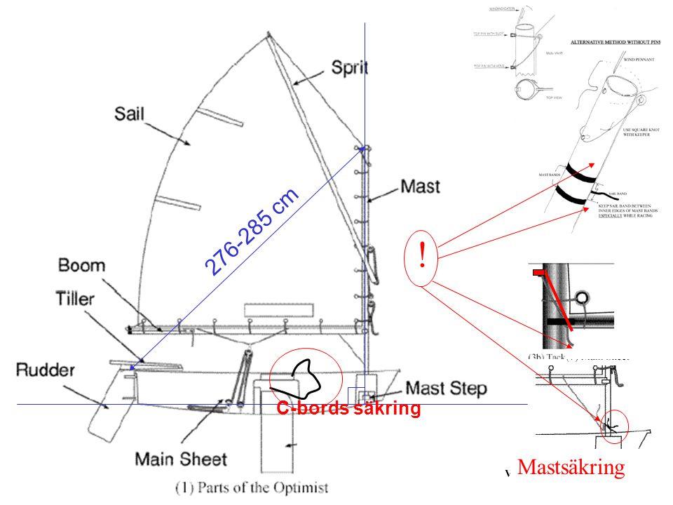 276-285 cm ! C-bords säkring Mastsäkring