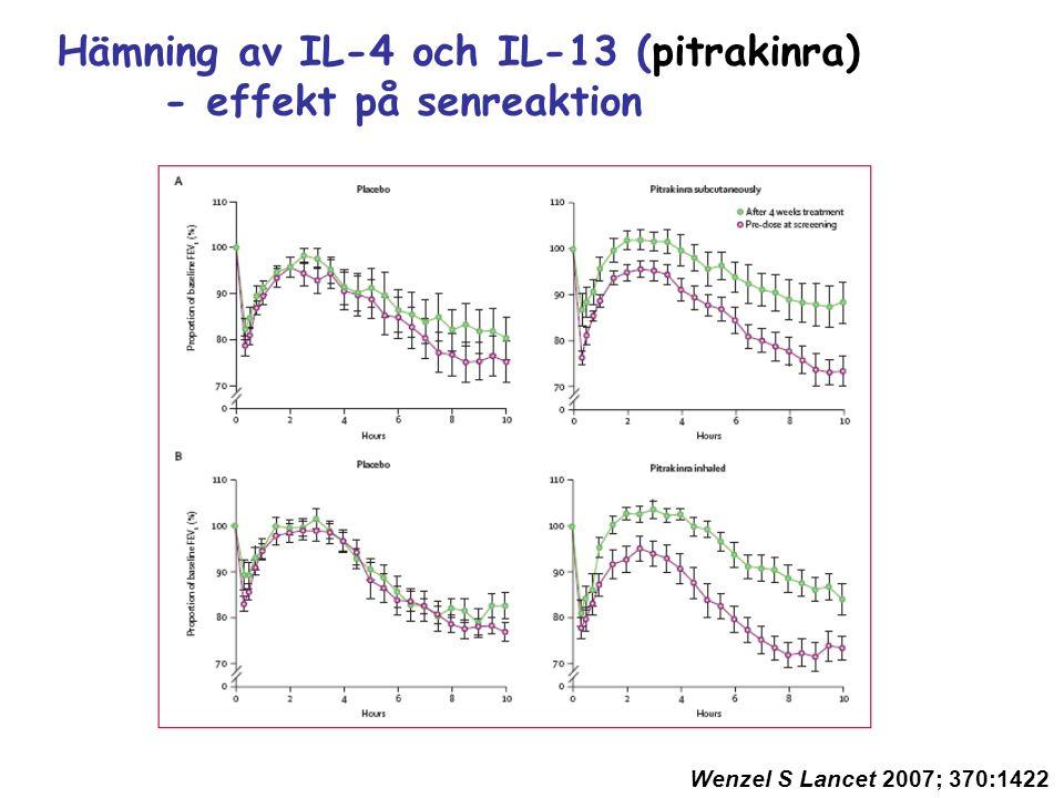 Hämning av IL-4 och IL-13 (pitrakinra) - effekt på senreaktion