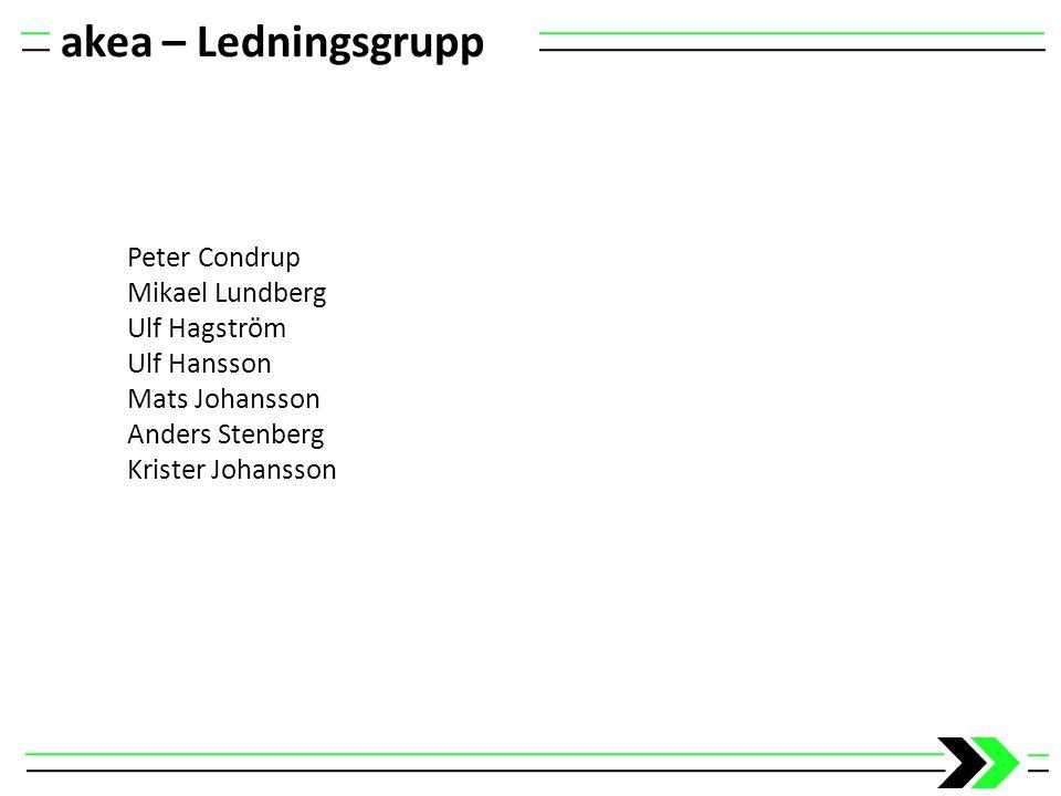 akea – Ledningsgrupp Peter Condrup Mikael Lundberg Ulf Hagström