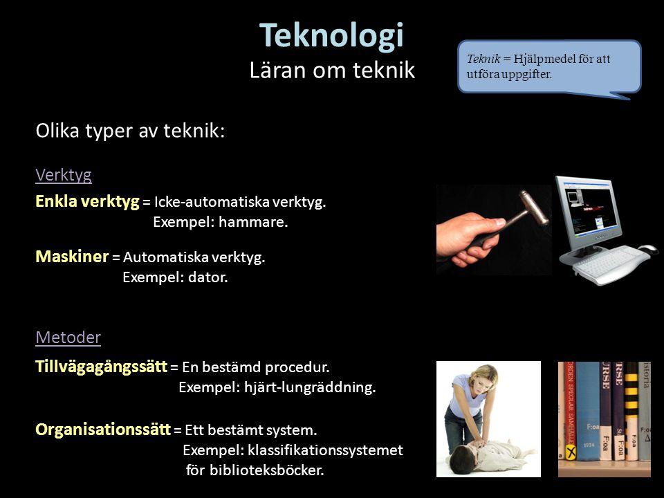 Teknologi Läran om teknik Olika typer av teknik: Verktyg