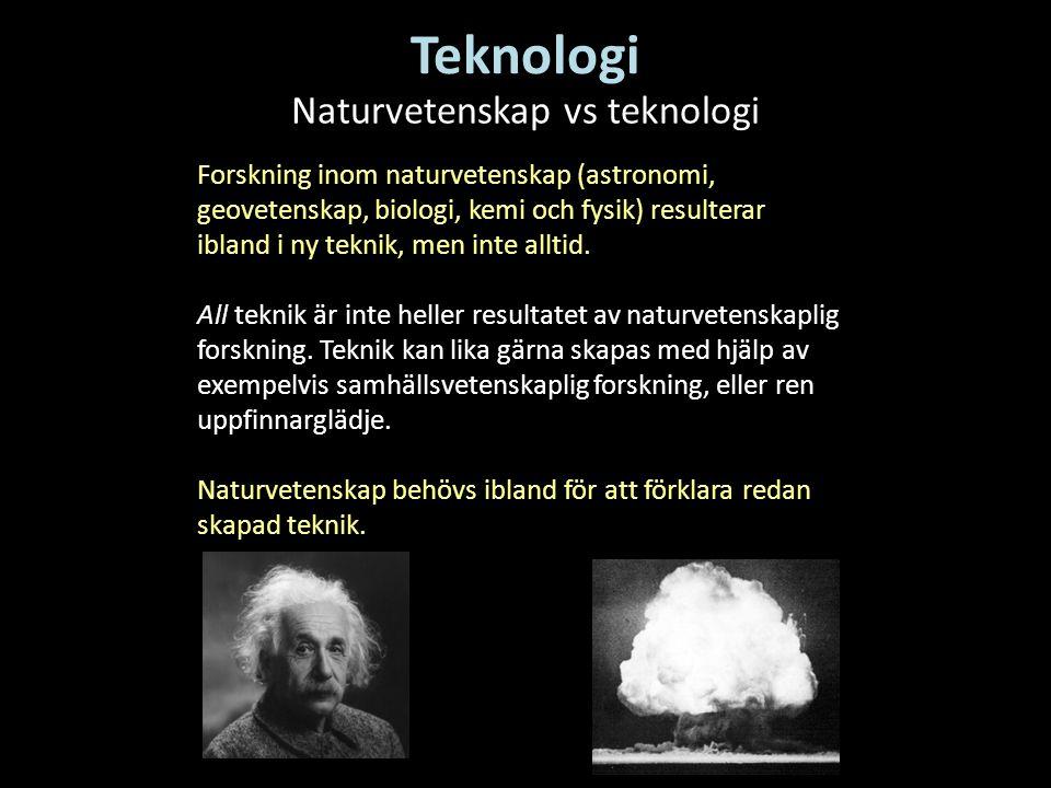 Naturvetenskap vs teknologi