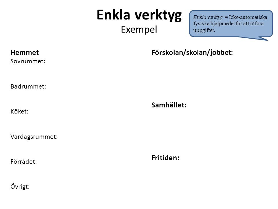 Enkla verktyg Exempel Hemmet Förskolan/skolan/jobbet: Samhället: