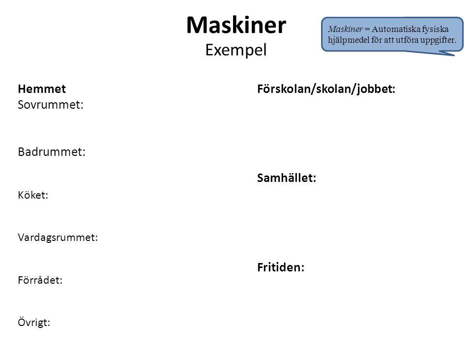 Maskiner Exempel Hemmet Sovrummet: Badrummet: Förskolan/skolan/jobbet: