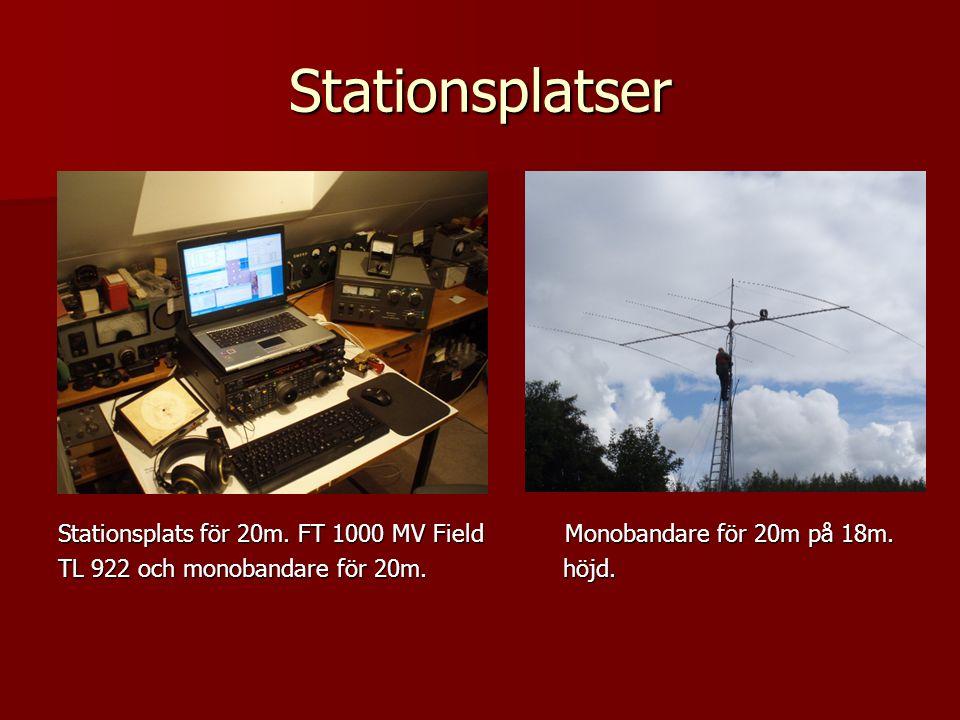 Stationsplatser Stationsplats för 20m. FT 1000 MV Field Monobandare för 20m på 18m.