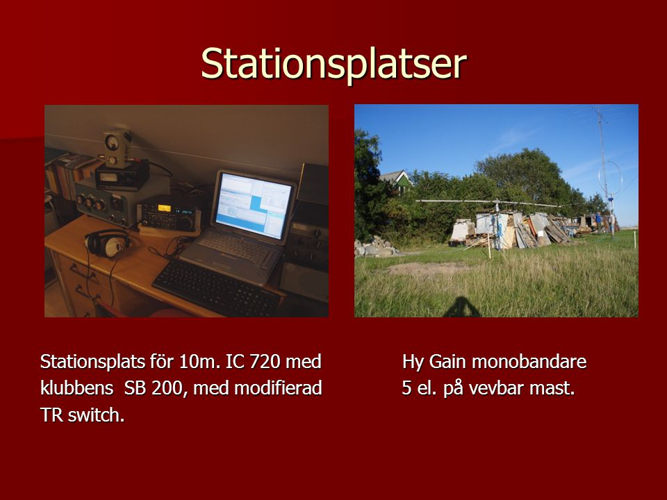 Stationsplatser Stationsplats för 10m. IC 720 med Hy Gain monobandare