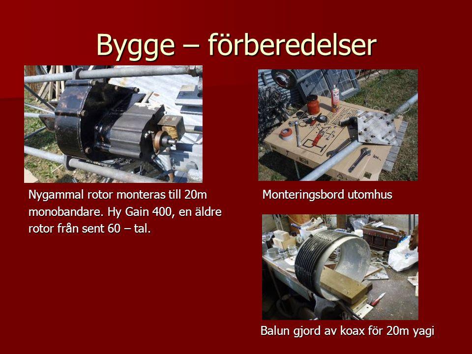 Bygge – förberedelser Nygammal rotor monteras till 20m Monteringsbord utomhus. monobandare. Hy Gain 400, en äldre.