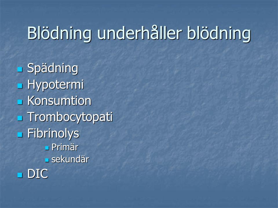 Blödning underhåller blödning