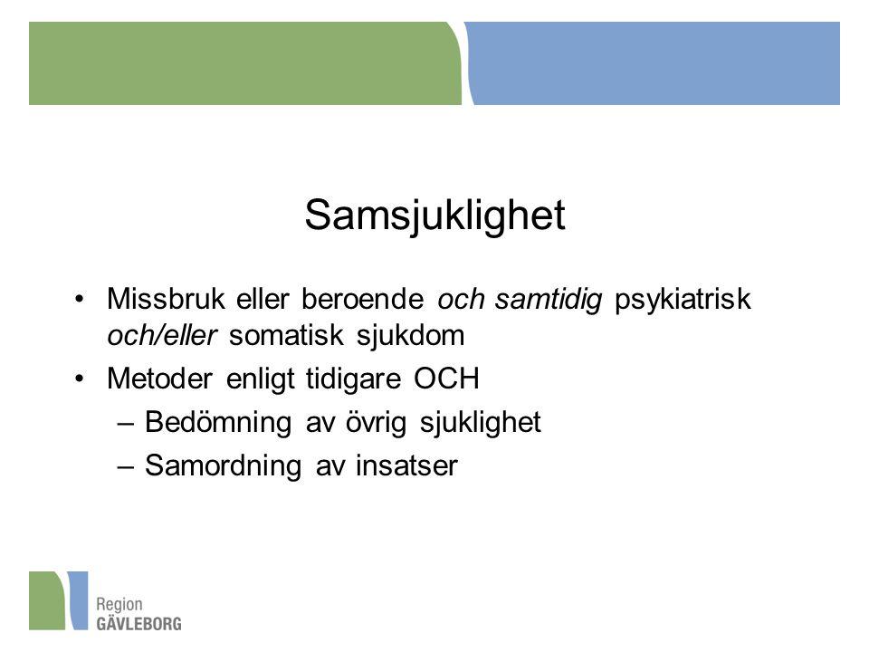 Samsjuklighet Missbruk eller beroende och samtidig psykiatrisk och/eller somatisk sjukdom. Metoder enligt tidigare OCH.