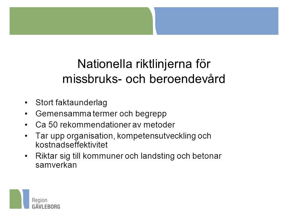 Nationella riktlinjerna för missbruks- och beroendevård
