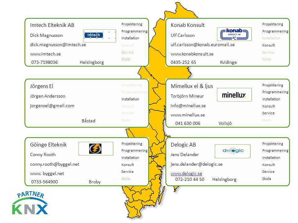 Imtech Elteknik AB Konab Konsult Jörgens El Mimellux el & ljus