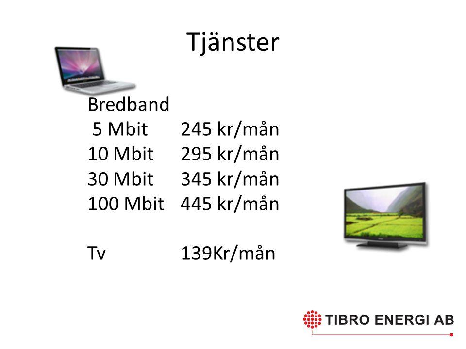 Tjänster Bredband 5 Mbit 245 kr/mån 10 Mbit 295 kr/mån