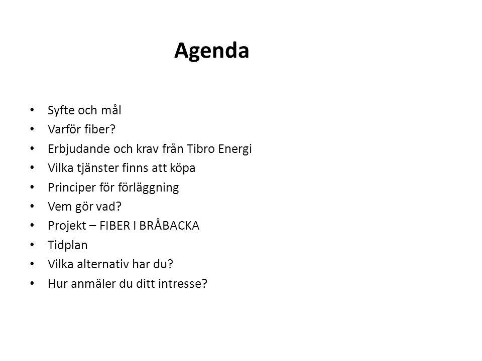 Agenda Syfte och mål Varför fiber