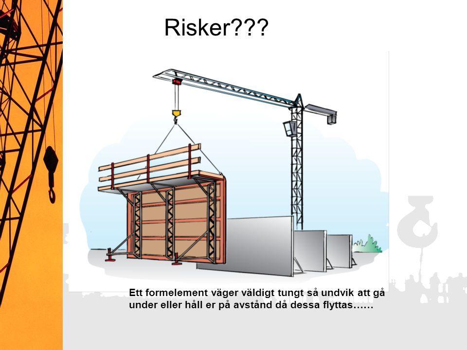 Risker Vilka risker finns i samband med lyft Felkopplat. Inte snarat, obalans, lasten tippar, snurrar.