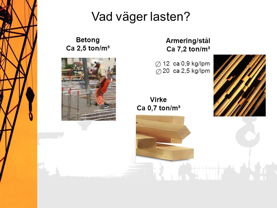 Vad väger lasten Betong Armering/stål Ca 2,5 ton/m³ Ca 7,2 ton/m³