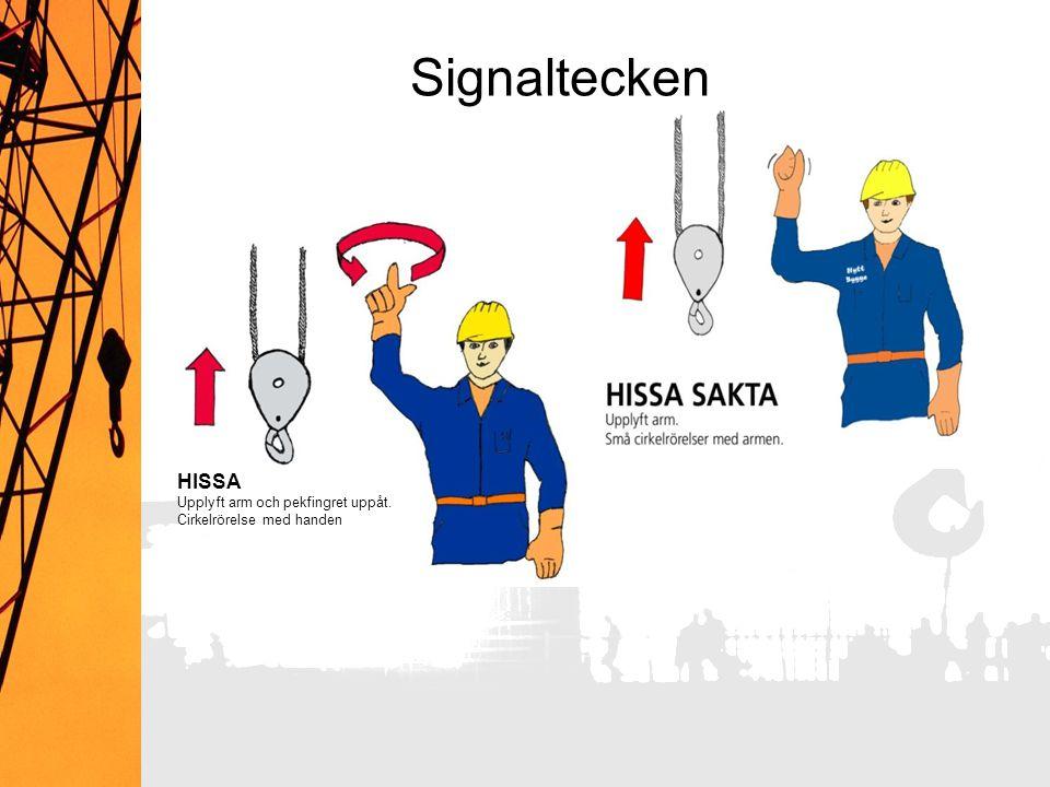 Signaltecken HISSA Upplyft arm och pekfingret uppåt.