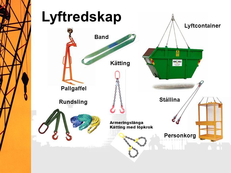 Lyftredskap Lyftcontainer Band Kätting Pallgaffel Stållina Rundsling