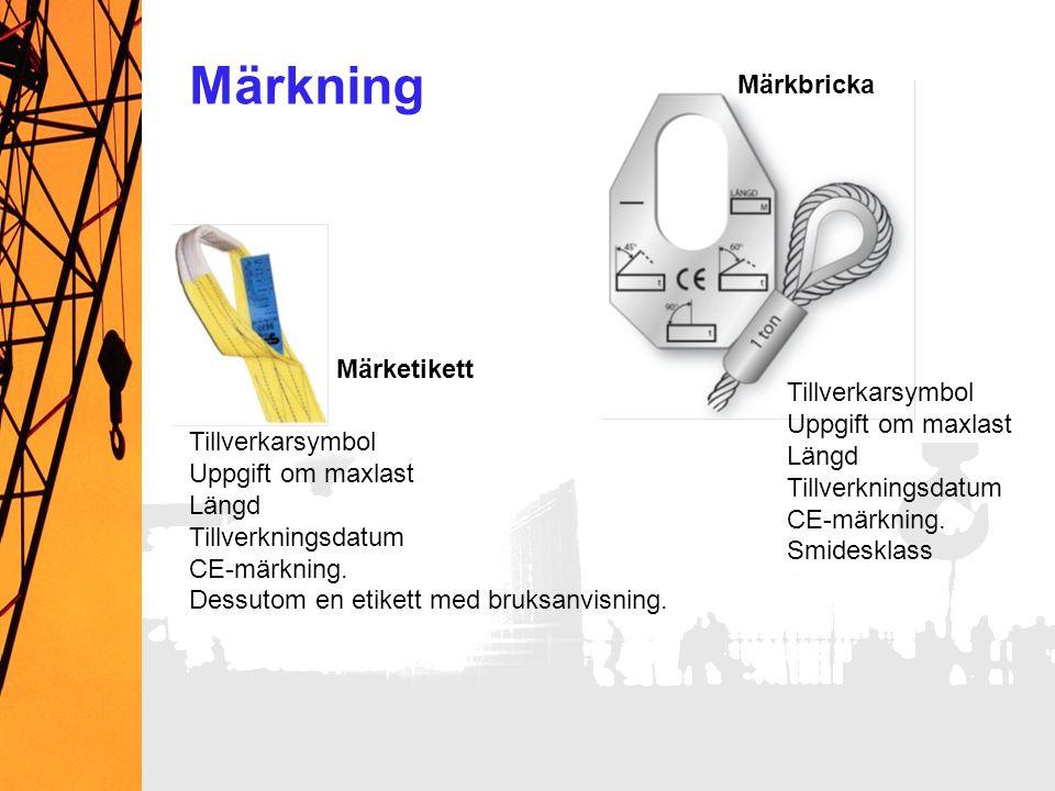 Märkning Märkbricka Märketikett Tillverkarsymbol Uppgift om maxlast