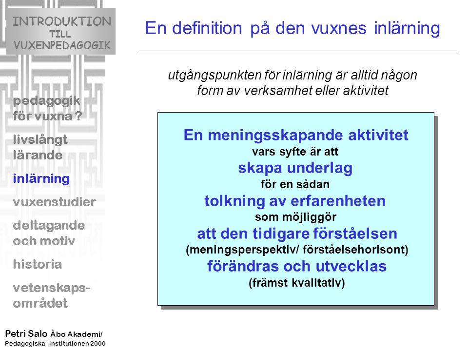 En definition på den vuxnes inlärning