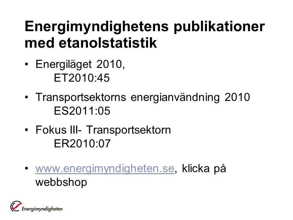 Energimyndighetens publikationer med etanolstatistik