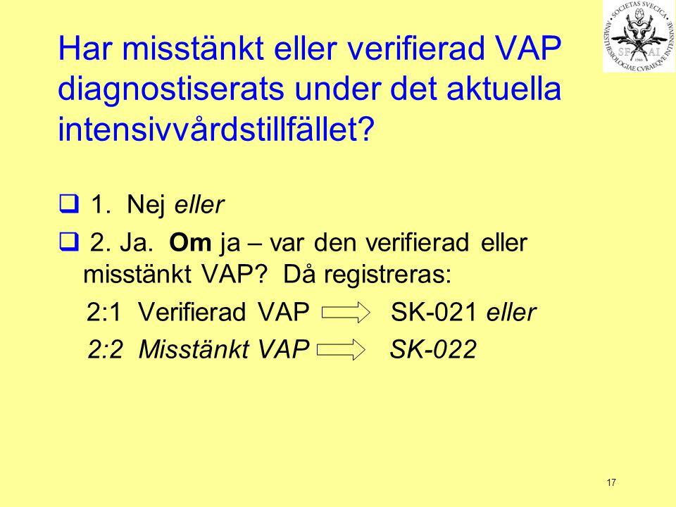 Har misstänkt eller verifierad VAP diagnostiserats under det aktuella intensivvårdstillfället