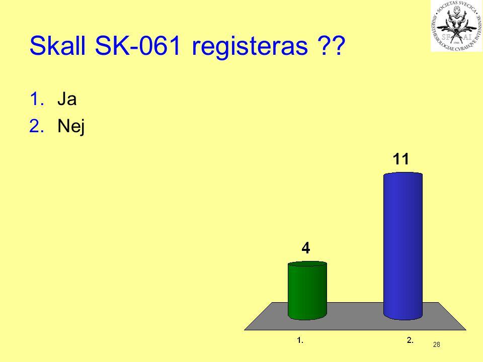 Skall SK-061 registeras Ja Nej