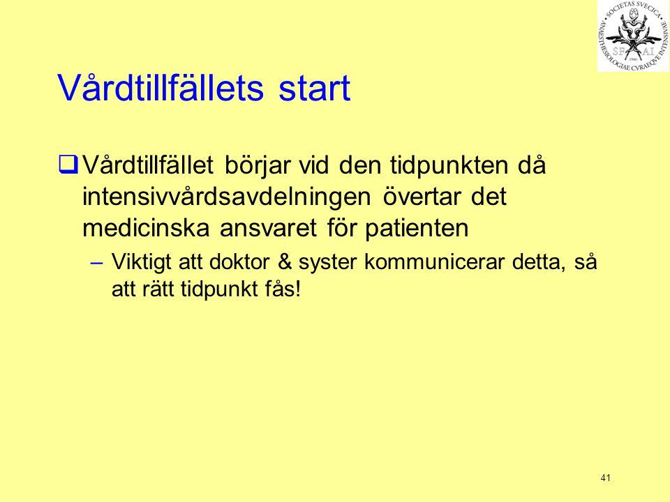 Vårdtillfällets start