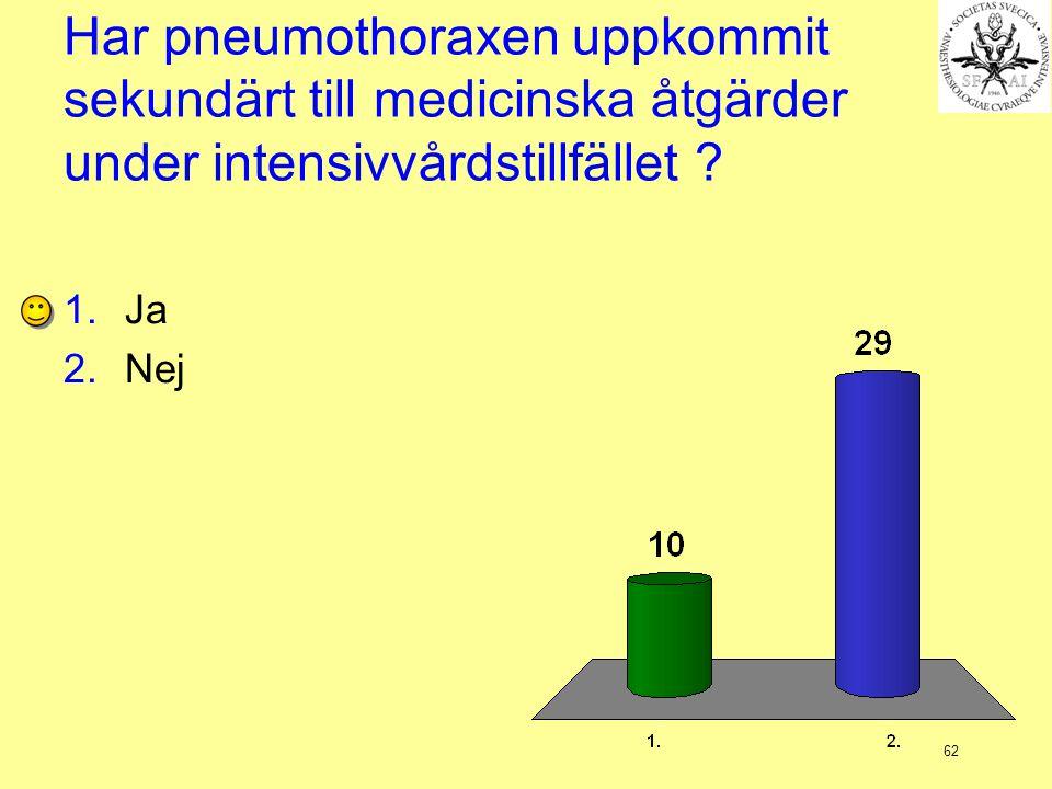 Har pneumothoraxen uppkommit sekundärt till medicinska åtgärder under intensivvårdstillfället