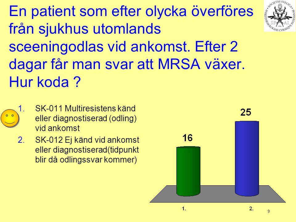 En patient som efter olycka överföres från sjukhus utomlands sceeningodlas vid ankomst. Efter 2 dagar får man svar att MRSA växer. Hur koda