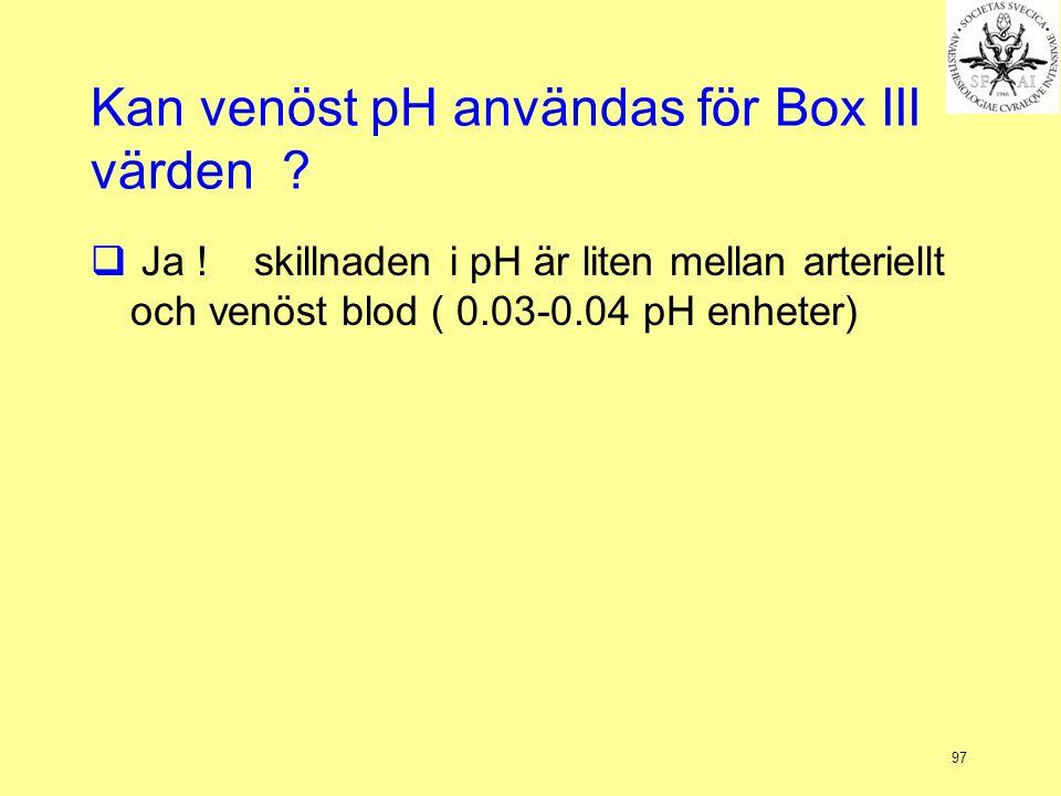 Kan venöst pH användas för Box III värden