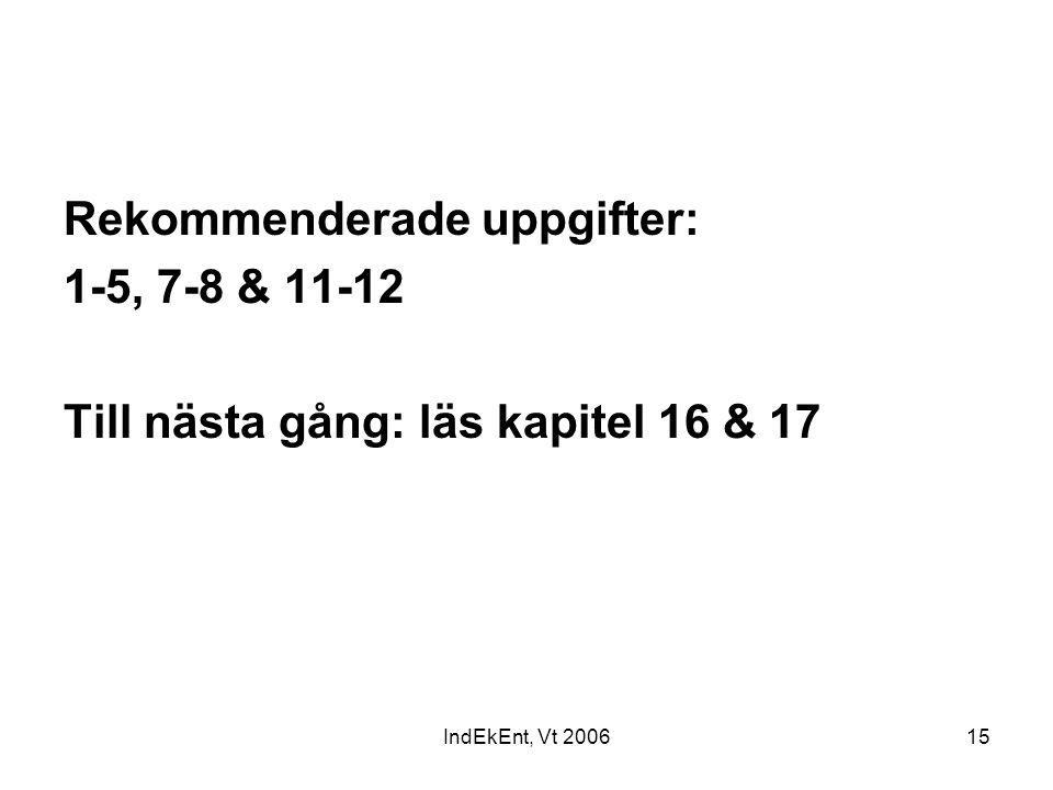Rekommenderade uppgifter: 1-5, 7-8 & 11-12