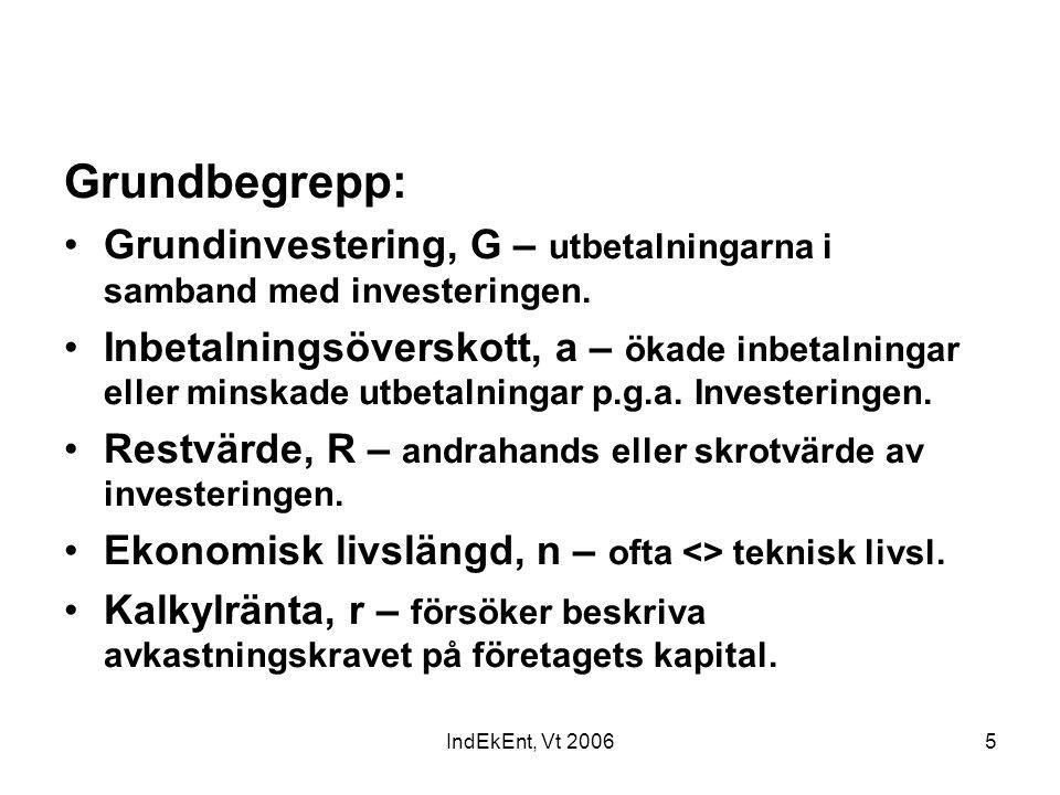 Grundbegrepp: Grundinvestering, G – utbetalningarna i samband med investeringen.