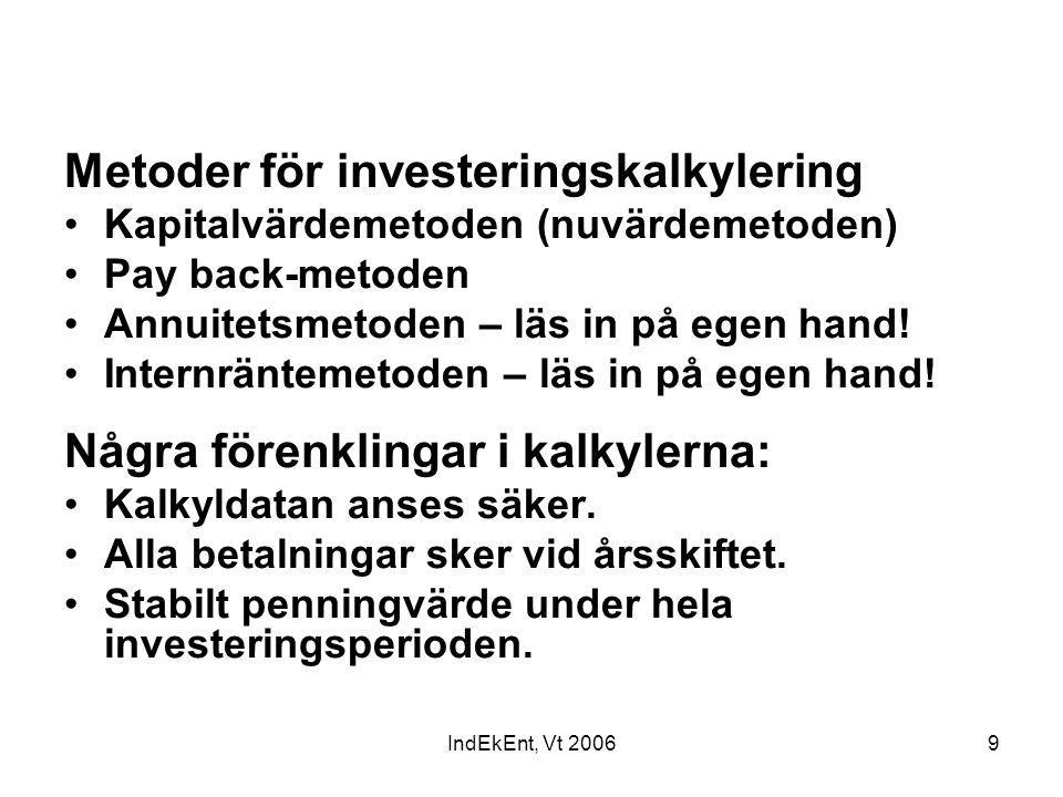 Metoder för investeringskalkylering