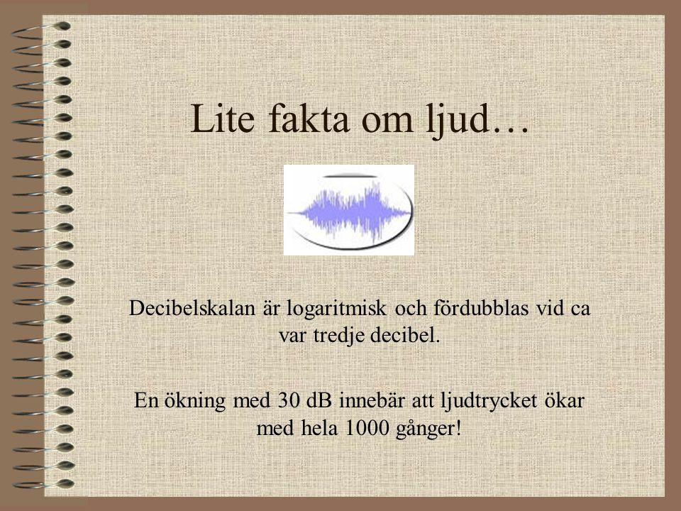 Lite fakta om ljud… Decibelskalan är logaritmisk och fördubblas vid ca var tredje decibel.