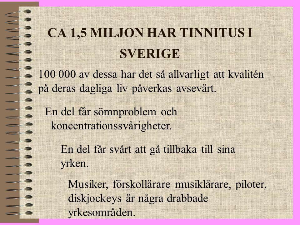CA 1,5 MILJON HAR TINNITUS I SVERIGE