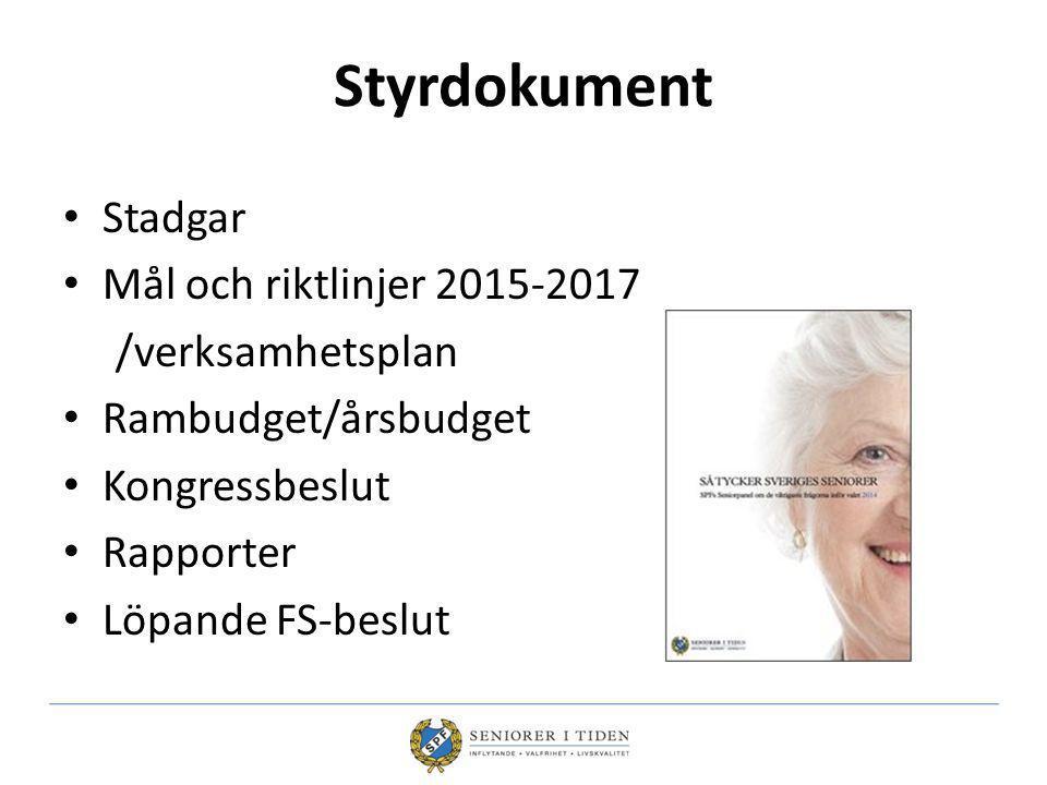 Styrdokument Stadgar Mål och riktlinjer 2015-2017 /verksamhetsplan