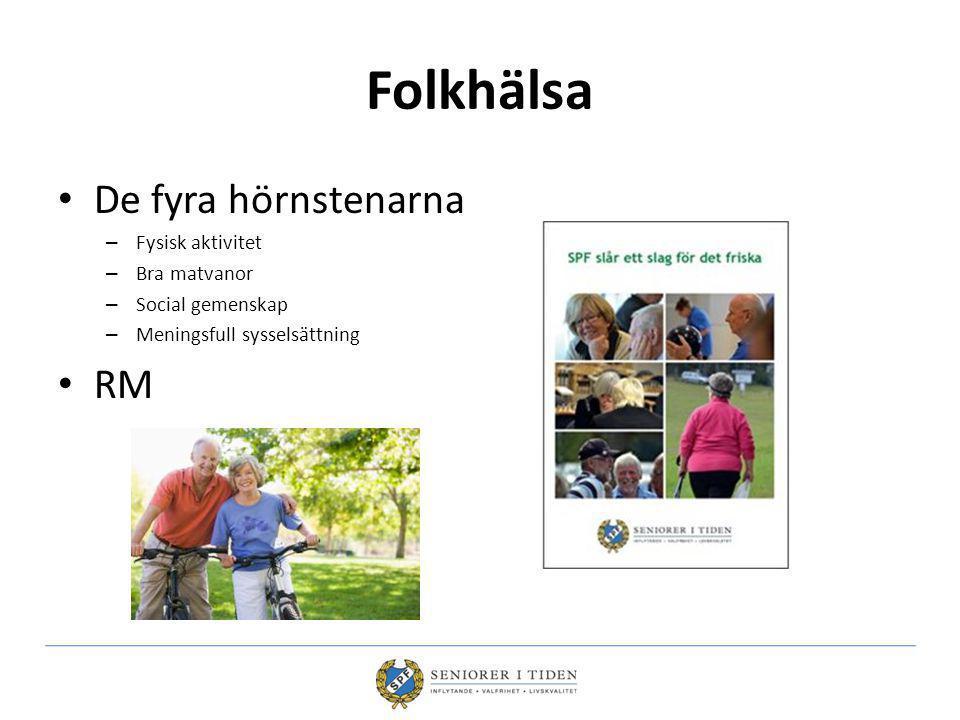 Folkhälsa De fyra hörnstenarna RM Fysisk aktivitet Bra matvanor