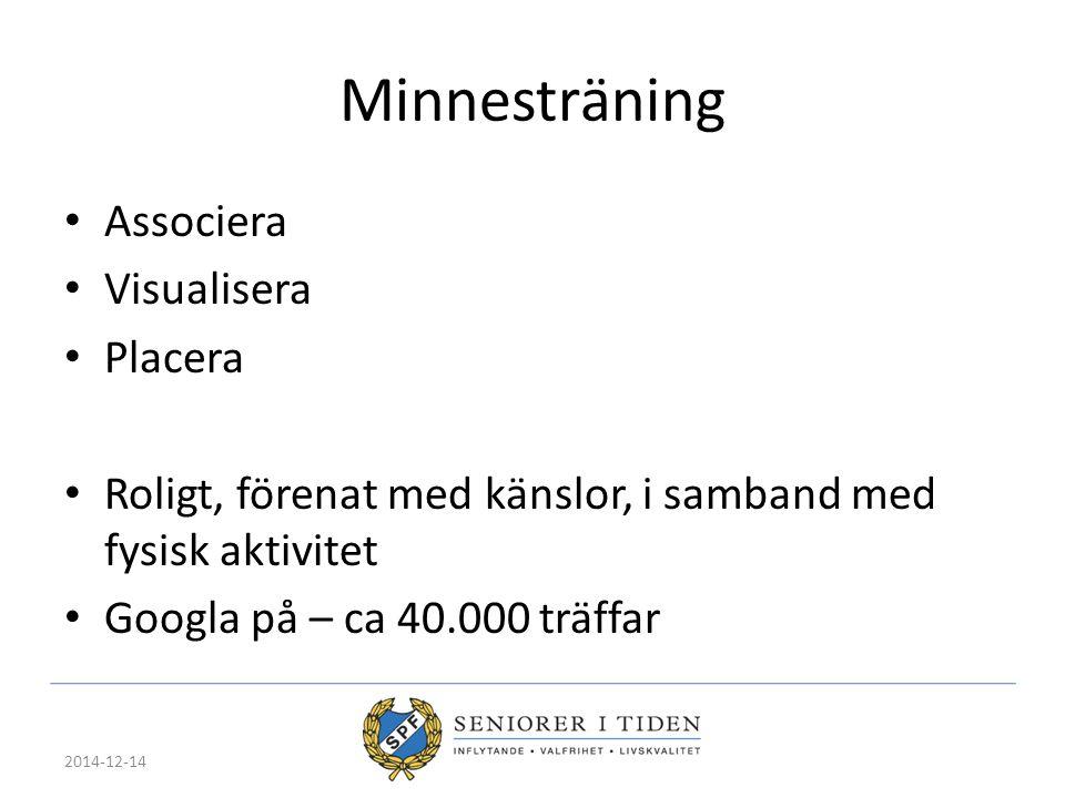 Minnesträning Associera Visualisera Placera