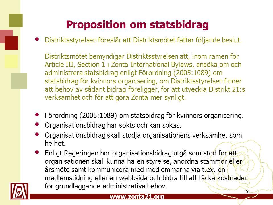 Proposition om statsbidrag