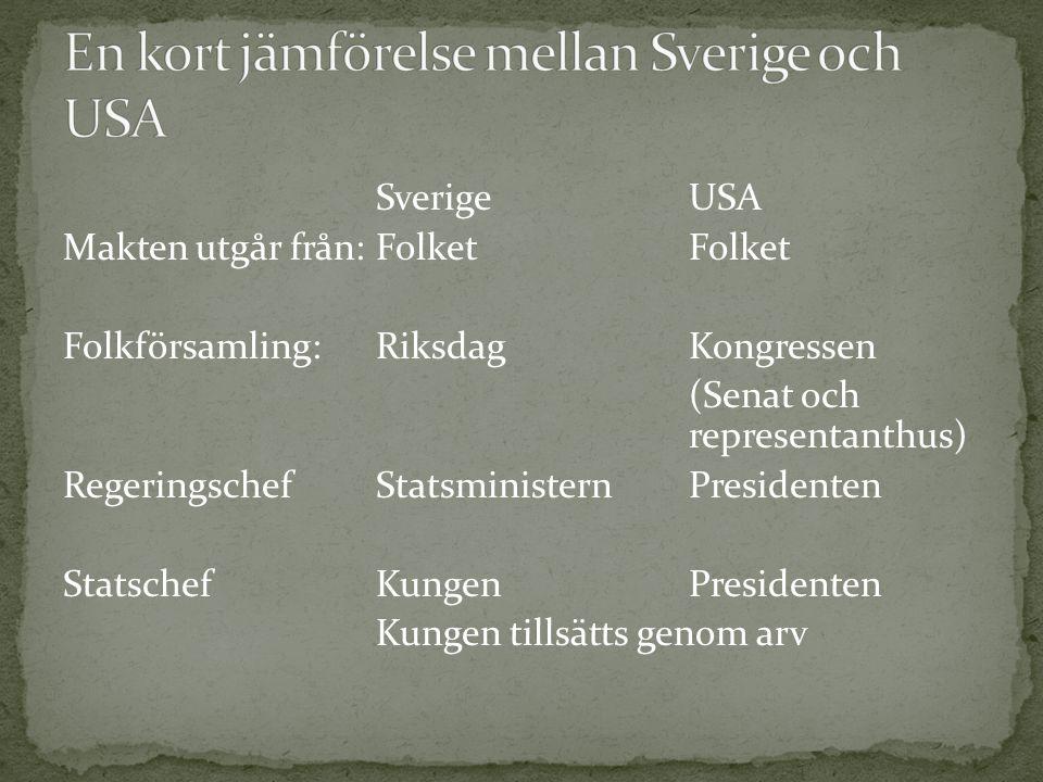 En kort jämförelse mellan Sverige och USA