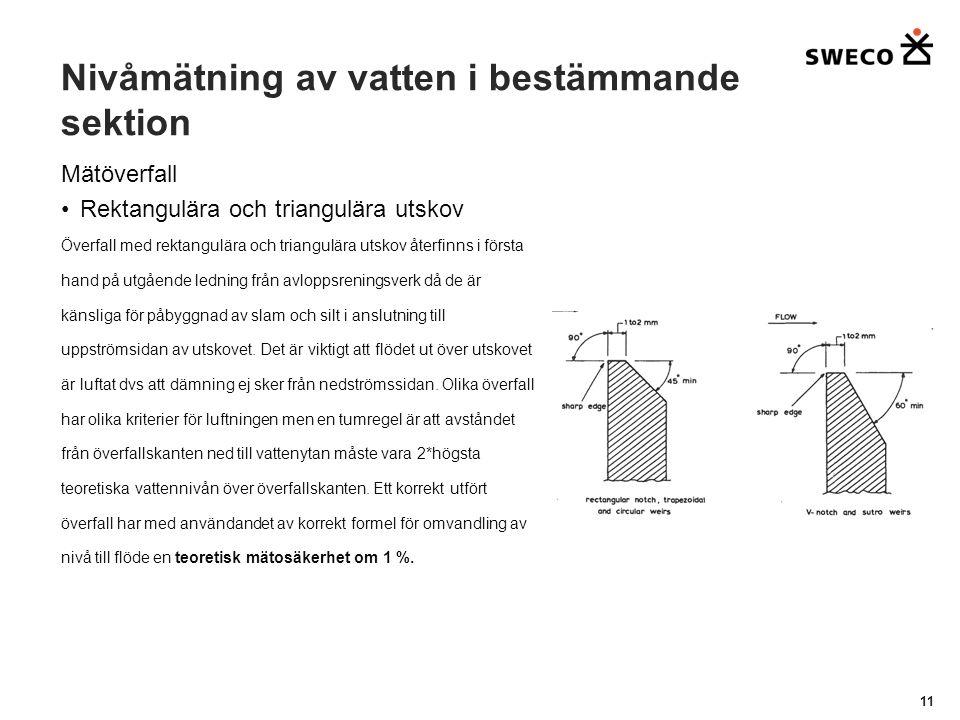 Nivåmätning av vatten i bestämmande sektion