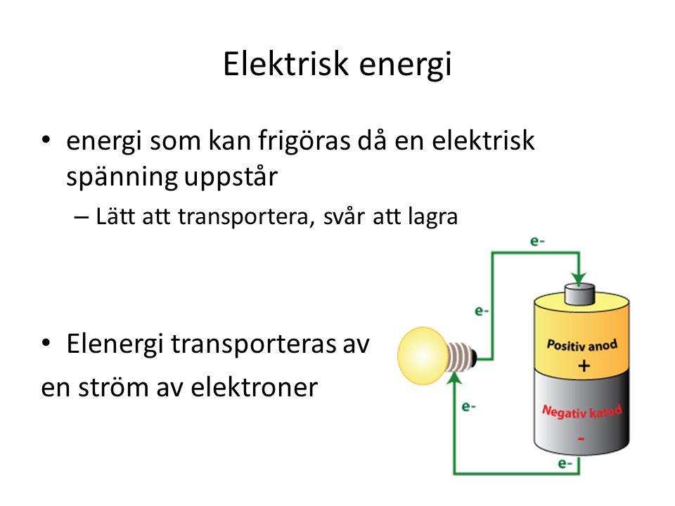 Elektrisk energi energi som kan frigöras då en elektrisk spänning uppstår. Lätt att transportera, svår att lagra.