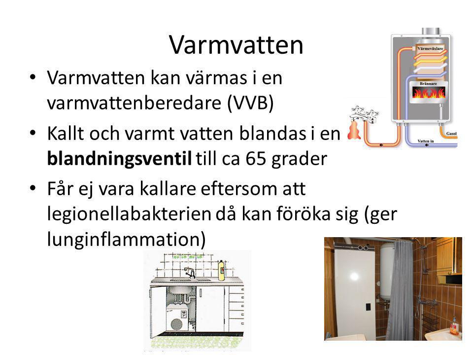 Varmvatten Varmvatten kan värmas i en varmvattenberedare (VVB)